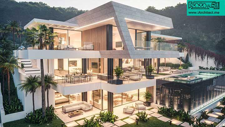 طراحی نمای ویلای لوکس 3 طبقه